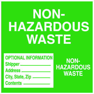Hazwaste Container Labels - Non-Hazardous Waste