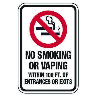 Heavy Duty Signs - No Smoking or Vaping Within 100 ft. of Entrances or Exits