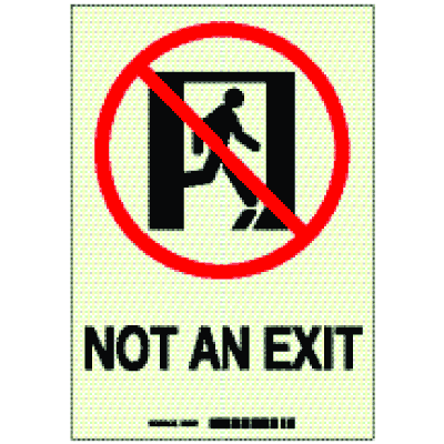 Brady® Hi-Intensity Photolum Door Exit Signs - Not An Exit - NY Approved