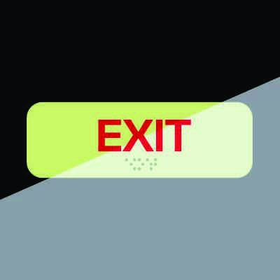 Exit Sign - Braille Glow-In-The-Dark-Signs
