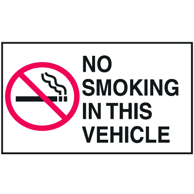 Instructional Labels - No Smoking In This Vehicle
