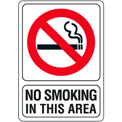 """No Smoking in This Area - 5""""W x 7""""H"""