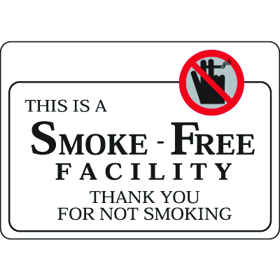 """This Is A Smoke-Free Facility - 10""""W x 7""""H Decor Signs"""