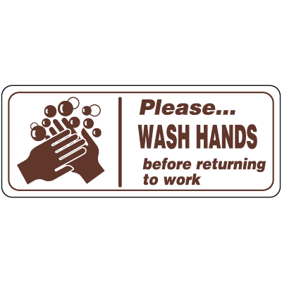 Please Wash Hands Before Returning To Work Interior Signs