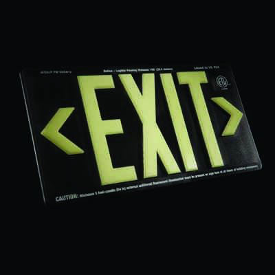 Glo Brite® 50 or 100-ft Zero Energy Photoluminiscent Exit Signs 7060-B