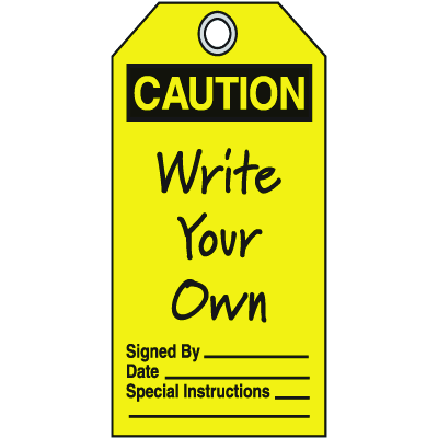Jumbo Safety Tags - Caution (Header Only, Write-On)