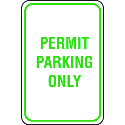 Lightweight Parking Signs - Permit Parking Only
