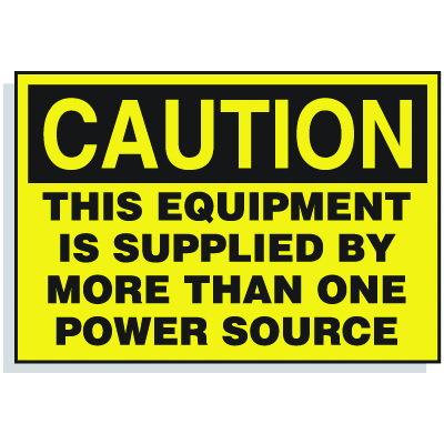 Lockout Hazard Warning Labels- This Equipment Is Supplied By More Than One Power Source