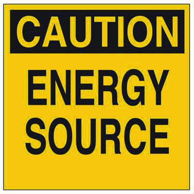 Brady Lockout Sign - Caution - Energy Source - Part Number - 60162 - 1/Each