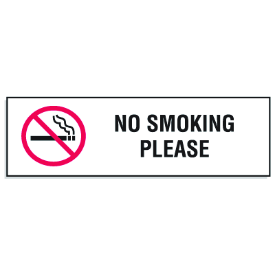 "Mini No Smoking Signs - 3""W x 10""H No Smoking Please (w/Graphic)"