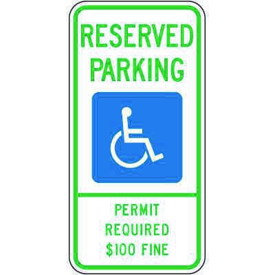 Montana State Handicap Signs - Reserved Parking Permit Required $100 Fine
