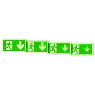 """Seton Motion® Photoluminescent Running Man Escape Route Sign """"Exit Down"""""""