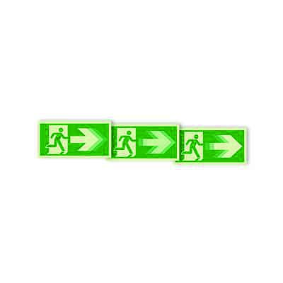 "Seton Motion® Photoluminescent Running Man Escape Route Sign ""Exit Right"""