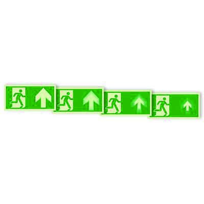 """Seton Motion® Photoluminescent Running Man Escape Route Sign """"Exit Up"""""""