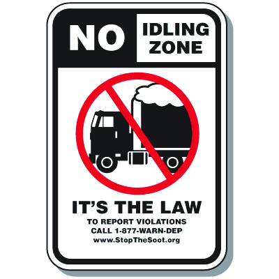 No Idling Zone Signs - New Jersey