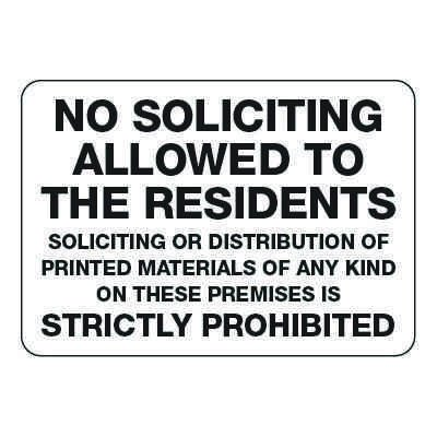 No Soliciting Allowed to Residents - Visitor Signs