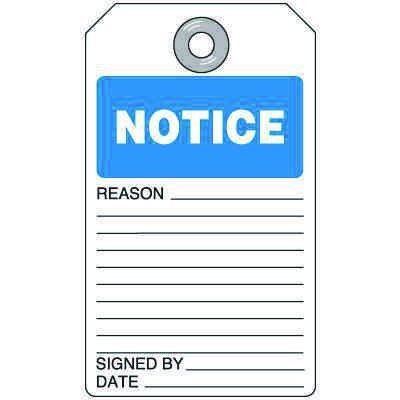 Notice - Self-Laminating Accident Prevention Tag