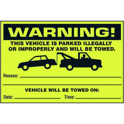 Warning Vehicle Parked Illegally  Labels