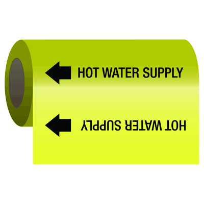 Self-Adhesive Pipe Markers-On-A-Roll - Hot Water Supply