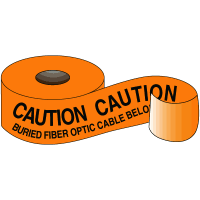 Underground Warning Tape - Caution Buried Fiber Optic Cable Below