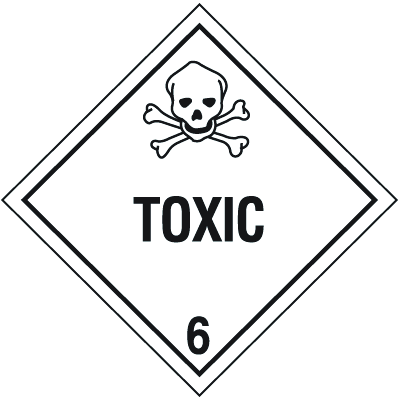 DOT Toxic Hazard Class 6 Material Shipping Labels