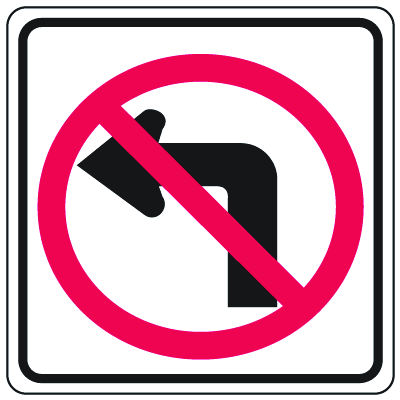 Prohibition Signs - No Left Turn