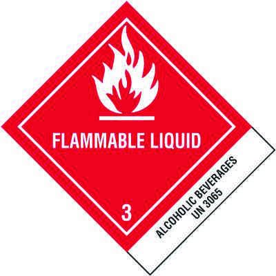 DOT Placard Shipping Labels - Flammable Liquid UN3065 Alcoholic Beverages