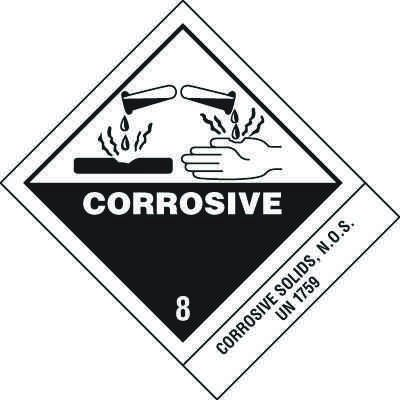 Corrosive Solids DOT Placard Shipping Labels