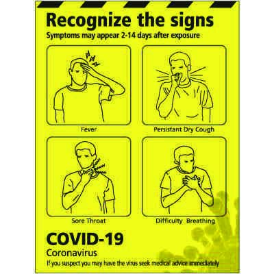 Recognize the Signs of COVID-19 Poster