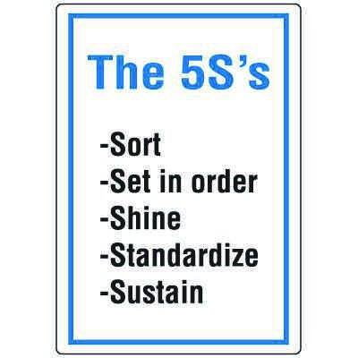 Red Tag Area Wall Signs - The 5S's