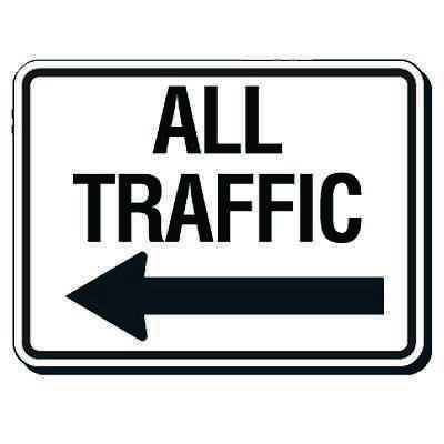 Reflective Parking Lot Signs - All Traffic (Left Arrow)