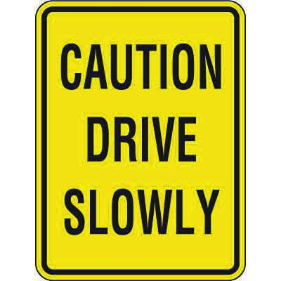Reflective Pedestrian Crossing Signs - Caution Drive Slowly