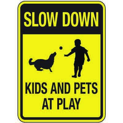 Reflective Slow Down Kids and Pets at Play Sign