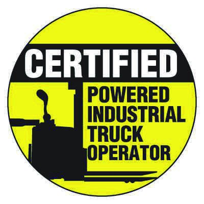 Safety Hard Hat Labels - Certified Powered Industrial Truck Operator