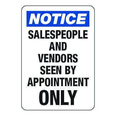 Salespeople and Vendors By Appointment - Visitor Signs