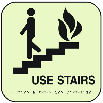 SetonGlo™ Signs - In Case Of Fire Use Stairs