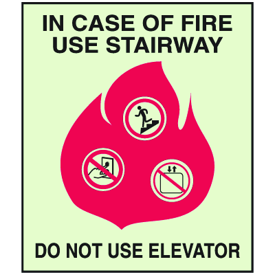 In Case Of Fire Use Stairway - Glow-In-The-Dark Fire Exit Sign