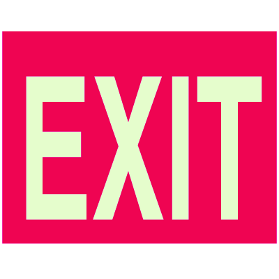 Glow-in-the-Dark Red Exit Sign