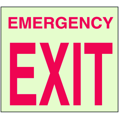 Emergency Exit - Glow-In-The-Dark Fire Exit Sign