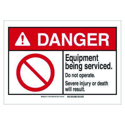 Brady ANSI Sign - Danger - Equipment Being Services - Plastic - Part Number - 144479 - 1/Each