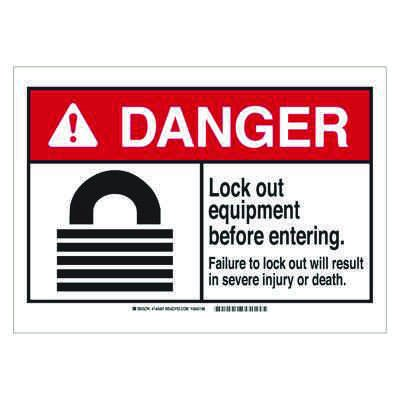 Brady ANSI Sign - Danger - Lockout Equipment Before Entering - Plastic - Part Number - 144493 - 1/Each