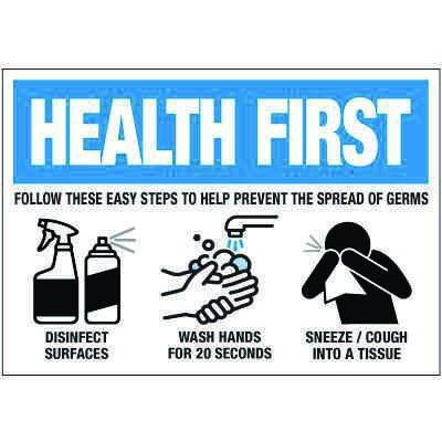 Steps to Prevent Spread of Germs Label