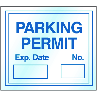 Static Cling Parking Permits - Unnumbered