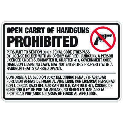 Texas Open Carry of Handguns Prohibited Signs - Penal Code 30.07 Compliant