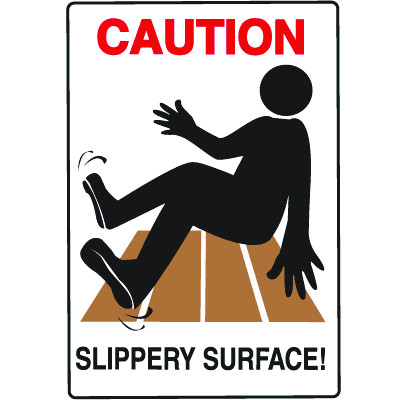 Water Safety Signs - Caution - Slippery Surface