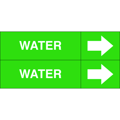 Weather-Code™ Self-Adhesive Outdoor Pipe Markers - Water