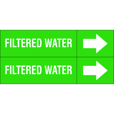 Weather-Code™ Self-Adhesive Outdoor Pipe Markers - Filtered Water