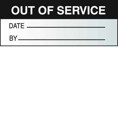 Out Of Service Date By Write On Self Debossing Labels