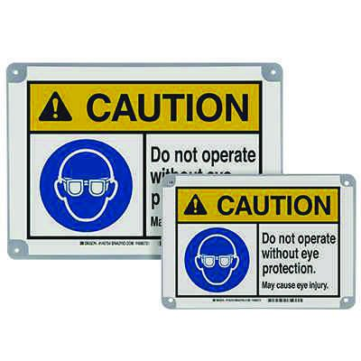 ToughWash® Encapsulated Signs - Caution Do Not Operate, Eye Protection
