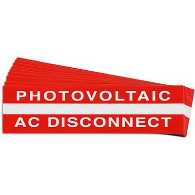"""Photovoltaic AC Disconnect"" Solar Warning Labels"
